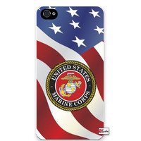 United States Marine Corps American Flag iPhone 5 Quality Hard Snap On Case for iPhone 5/5s - AT&T Sprint Verizon - White Case