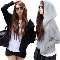 Fashion Korean Style Loose Cotton Blend Hooded Sweatshirt Sweat Zipper Coat Jacket = 1917007300