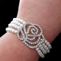 Bridal Bracelet 4 Rows of Pearls Art Deco Rose Rhinestones - Vivian Feiler Designs | Wedding