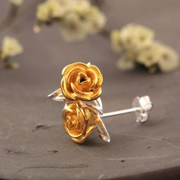 Flyleaf 925 Sterling Silver Rose Flowers Stud Earrings For Women High Quality Fashion Style Lady Gift Sterling-silver-jewelry