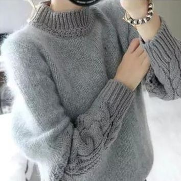 Women Sweater Hot Sale Rabbit Hair Loose Twist Sleeve Splicing of New Fund 2015 Autumn Winters Coat Han Edition Retro Pullovers