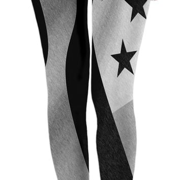 Patriotic everyday - girls leggings, US flag pencils, America in black & white