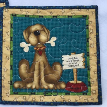 Quilted Dog Rug Mugs, Quilted Snack Mat, Mini Dog Placemats Set of 2, Large Dog Quilted Coasters