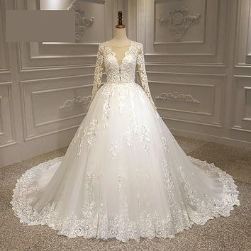 Princess Sheer V Neck Lace Long Sleeve Wedding Dress Bridal Gowns