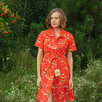 NEW Soviet APPLE Dress / Red Cotton Fruit & Floral Printed Button Down Tea Dress - New With Tags USSR Vintage 1970's Summer Dress ->  Size S