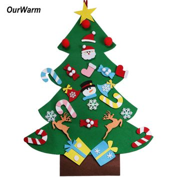 Ourwarm DIY Felt Christmas Tree Pendant Drop Ornaments New Year Gift for Children Kids Door Wall Hanging Xmas Decoration