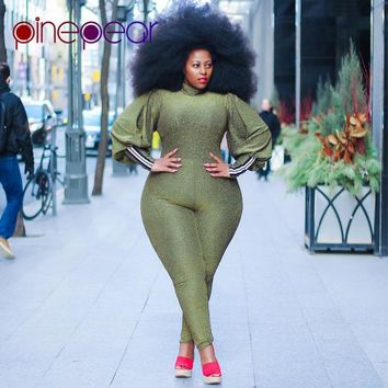 PinePear Plus Size Lantern Sleeve Jumpsuit 2019 Women Long Sleeve Elegant Romper Office Lady Formal Party High Street Overalls