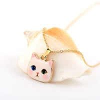 18K Gold Zinc Alloy Colorful Kitty Animal Necklace Lovely Pink Cat Necklace for  Party Gifts OXL011