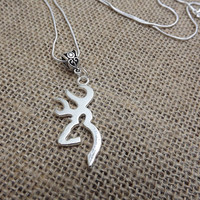 silver deer necklace, browning deer necklace, hunting accessories, girls who hunt, camo jewelry, sterling silver, redneck jewelry, southern
