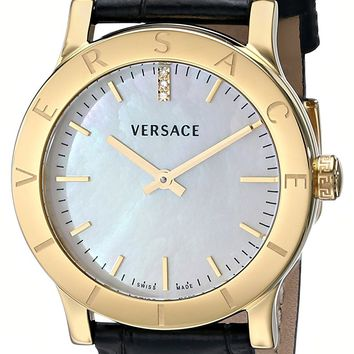 Versace Women's VQA020000 Acron Diamond-Accented Gold-Plated Watch with Black Leather Band