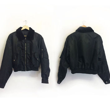 Vintage 80's 90's Rare Black Faux FUR Collared Pilot Bomber Jacket || Cropped Nylon Army Flight Coat || Ladies Size Medium