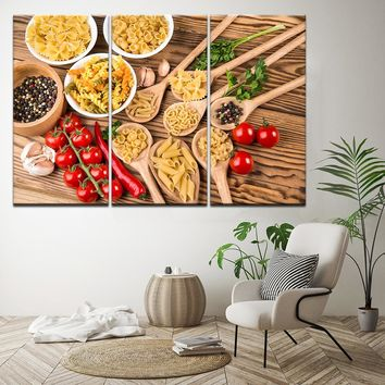 Canvas Pictures Home Decor Frame 3 Pieces Italian Pasta Food Spices Paintings HD Printed Cooking Poster Modular Kitchen Wall Art