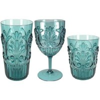 Fleur Indoor/ Outdoor Drinkware S/6 |Teal