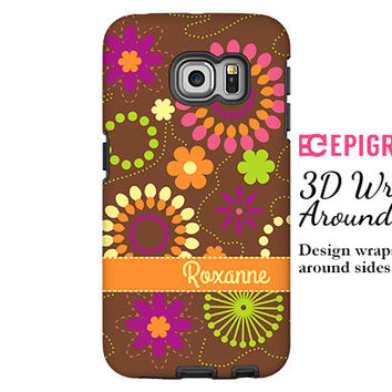 Personalized Samsung Galaxy S6 case, floral Samsung Galaxy s5 case, orange flowers Galaxy S6 case, 3D wrap aroung Galaxy case, tough case