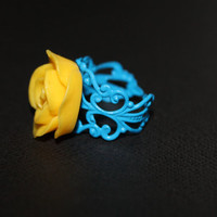 Yellow Rose Ring on Adjustable Blue Antique Filigree - Fashion Ring- Unique Gift for Her