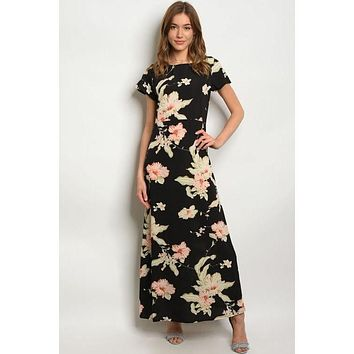 Midnight In The Hibiscus Garden, Maxi Dress