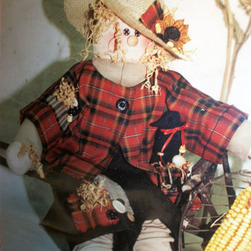 Sewing Crafts Pattern for Freckles and Friend Harvest Scarecrow DIY Soft Sculpture Fall Home Decor by Hanging by a Thread