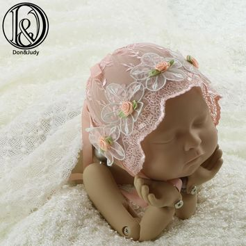 Handmade Baby Girl Lace Bonnet with Floral Vintage Style Baby Lace Hat Baby Photography Props Baby Shower Gift