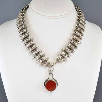 Victorian Bookchain Silver Necklace, Swivel Fob Garnet Necklace, Blood Agate Carnelian, Aesthetic Period, Antique Jewelry, Agate Jewelry