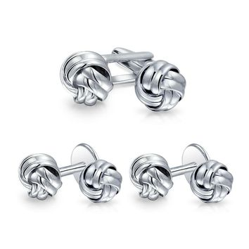 Solid Knot Braided Twist Cufflinks Stud Sets For Tuxedo Shirts For Men