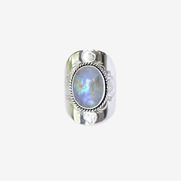 Large Moonstone Ring, Statement Silver Moonstone Ring, Solid Sterling 925 Silver Ring, Handcarved Ring, Engraving,