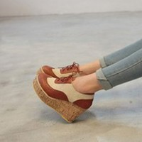 Japanese Fashion Tie Girls Wdeges Shoes Brown : Wholesaleclothing4u.com