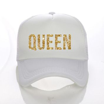 QUEEN Golden Glitter Print Trucker Caps Polyester Mesh Women High Quality Snapback Hats Free Shipping