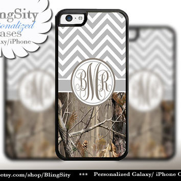Gray Grey Chevron Monogram iPhone 5C 6 Case Plus iPhone 5s 4 Ipod 4 5 Touch case Real Tree Camo Zig Zag Personalized Country Girl