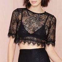 Wink Back Lace Crop Tee