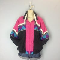 Vintage 80s Jacket, Fresh Prince Jacket, Abstract Wind Jacket, 1980s Hip Hop Jacket, Zipper Jacket, Slouchy Jacket