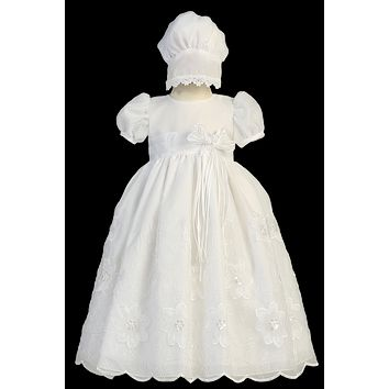 Flower & Vine Embroidered Organza Christening Dress (Baby Girls Newborn - 18 months)