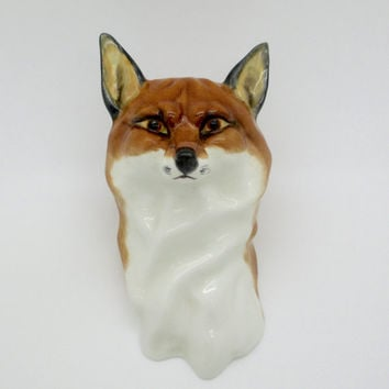 Rare Royal Worcester RED FOX HEAD Wall Mask Hanging Sculptor Doris Linder Circa 1951 Item # 3024
