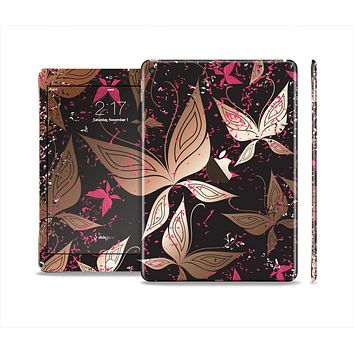 The Gold & Pink Abstract Vector Butterflies Skin Set for the Apple iPad Air 2