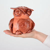 Ceramic painted pencil Holder Handmade Eco friendly Office supplies Owl