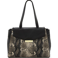 Antonio Melani Midnight Python Flap Tote - Black
