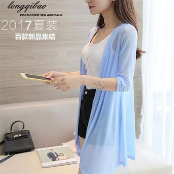 Female models in the long section of ultra-thin summer ice silk yarn knitted air-conditioning shawl cardigan sunscreen jacket TB
