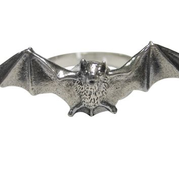 Silver Toned Textured Bat Adjustable Size Fashion Ring