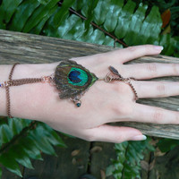 slave bracelet peacock feather charms gypsy boho hippie gothic fantasy tribal and belly dancer style