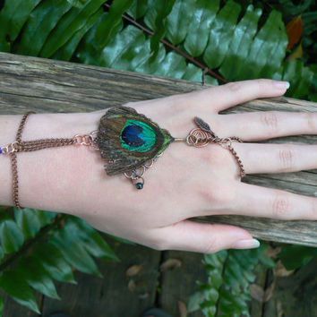 gypsy slave bracelet peacock feather charms hand chain hand flower boho hippie gothic fantasy cosplay tribal and belly dancer style