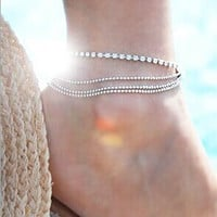 Ladies Shiny Sexy Cute Jewelry Stylish Gift New Arrival Accessory Summer Metal Chain Anklet [6057513281]