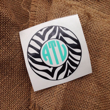 Circle font zebra print car sticker Monogram car decal initials monogram sticker car monogram sticker circle decal zebra monogram sticker