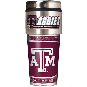Texas A&M Aggies Metallic Logo Tumbler Stainless Steel Black Vinyl 16-Ounce