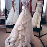 Classic Off-The-Shoulder Tiered Lace A-Line Wedding Dress
