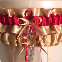 Gold and Red Wedding Garter Set, Prom Garter Set