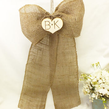 Burlap Wedding Bows - Set Of Ten - Two With Wood Hearts And Eight Plain, Burlap, Country, Barn,  Beach, Rustic Wedding Decorations