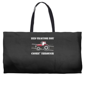 case ih red tractor boy comin' through Weekender Totes