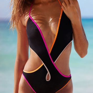 FASHION HOT CONTRAST BLACK COLORFUL CROSS HOLES BIKINIS