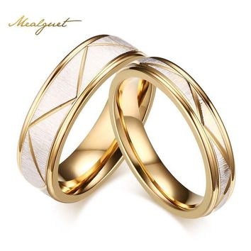 Meaeguet Wedding Ring Couples Matching Rings  Women's Men's Gold-Color Love Matte Finish White Wedding Bands Rings