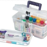 Akro-Mils 09514 CFT 14-Inch Plastic Art Supply Craft Storage Tool Box, Semi-Clear
