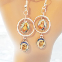 jesus mary picture charm earrings dangles religious christian jewelry